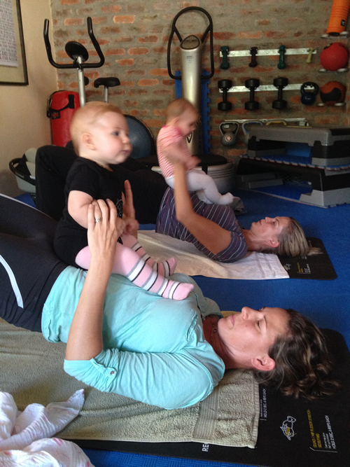 baby pilates with mother
