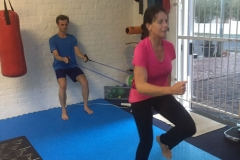 mother and son leg strengthening